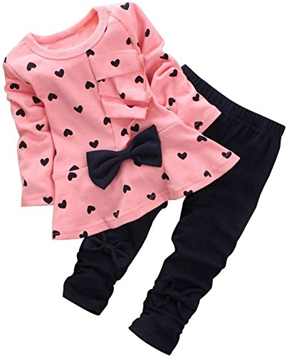 - BomDeals Baby Girl Cute 2pcs Set Children Clothes Suit Top and Pants (Age(4T), Pink)
