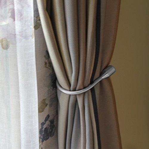 Yeexue Curtain Holdback U Arm Hook Metal Drape Tieback (One Pair, Silvery)
