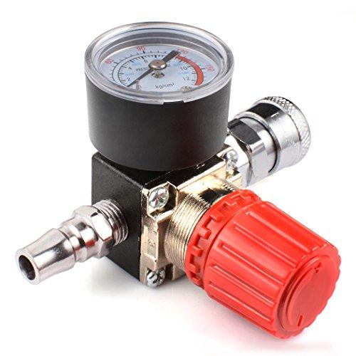 Preciva Air Compressor Pressure Regulator 175 PSI Air Gauge Water Trap for Compressor and Air Tools (four-way (Brass Air Regulator)