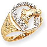 14K Gold Horse Head Diamond Horseshoe Mens Ring Sz10