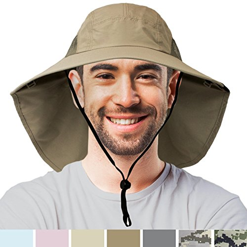 SUN CUBE Premium Outdoor Sun Hat for Men, Women | Sun Protection Hat for Hiking, Fishing, Safari | Wide Brim Cap with Neck Flap and Adjustable Chin Cord, UPF 50+ | Foldable, Breathable (Olive)
