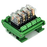 ELECTRONICS-SALON DIN Rail Mount 4 SPDT 16A Power Relay Interface Module,G2R-1-E DC12V Relay