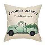 Fahrendom Vintage Farmers Market Apple Green Herb Truck Rustic Farmhouse Decor Spring Summer Sign Decoration Cotton Linen Home Decorative Throw Pillow Case Cushion Cover for Sofa Couch 18 x 18 in