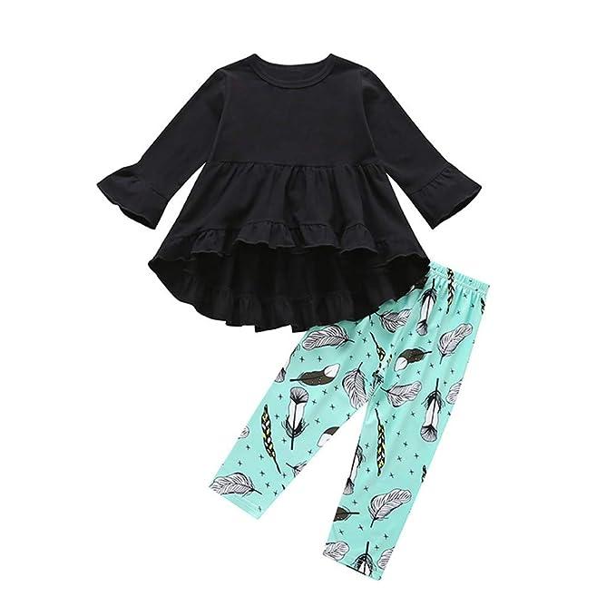 f77141a7694cc Amazon.com: BSGSH Baby Girl Clothes Long Sleeve Ruffle Hem Tops and ...