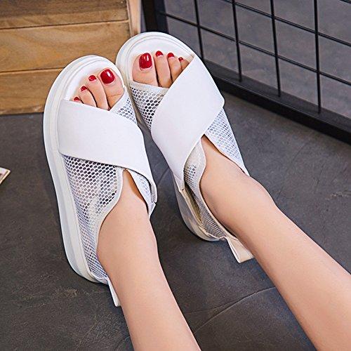 Kvinners Plattform Sandaler Tykk Bunn Sommer Mote Hvit Rosa Flatform Sandal 1.hvit