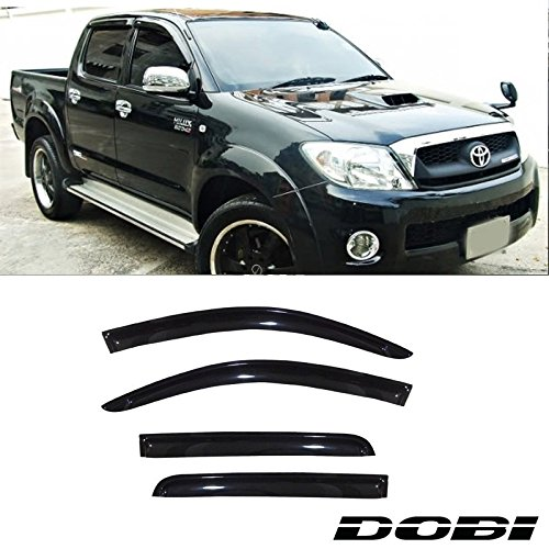 VIOGI4pcs Dark Smoke Outside Mount Style Sun Rain Guard Vent Shade Window Visors Fit 05-14 Toyota Hilux Vigo/Champ MK7 Double Cab With 4 Full Size Doors (Champ Visor)