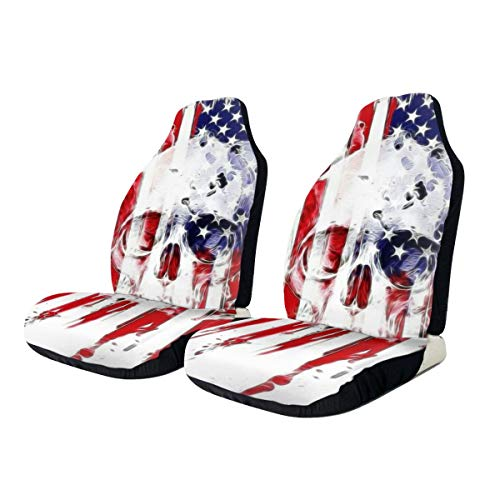 Dreamfy Horror 4th of July Sugar Skull Front Car Seat Cover Soft Polyester Automotive Seat Covers Accessories Fit Car Truck Van SUV Decoration 1 PCS (Best 7 Seater Family Car Usa)