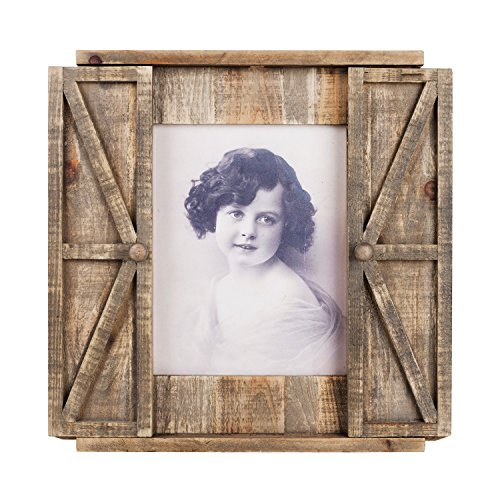 Paris Loft Wood Barn Door Picture Frame, Distressed Hanging Wooden Photo Frame 8x10 Inches -