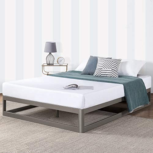 Mellow Metal Platform Bed Frame w Heavy Duty Steel Slat Foundation, Grey