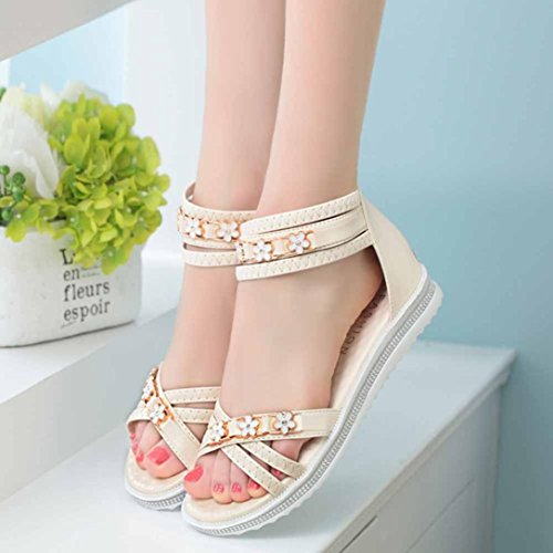 Anboo Femmes Été Sandales Plates Soft Pu Cuir Loisirs Peep-toe Romain Gladiateur Chaussures Beige