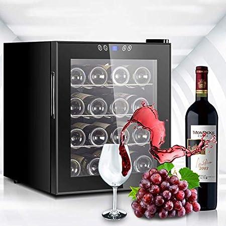 YFGQBCP 16 Botella termoeléctrica Vino Blanco Rojo Y Refrigeración/Chiller, encimera Independiente Rojo y Negro Bodega Nevera, Funcionamiento silencioso Nevera, Pantalla táctil Digital