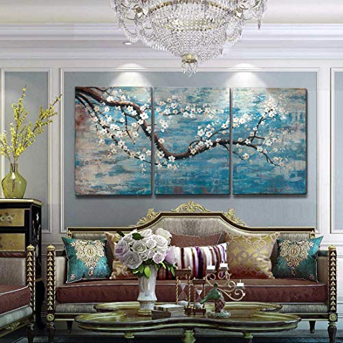 Extra Large Wall Art for Living Room 100% Hand-Painted Framed Decorative Floral Oil Painting Set Decorative Modern Blue Tree Artwork Ready to Hang 72
