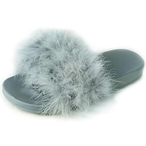 a3eb0fdd3 BeMeesh Sandalias Pala Plana Pelo Sintético Largo Mujer Chica  Amazon.es   Zapatos y complementos