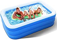 Inflatable Pool for Adults, Kids, Family Kiddie Swimming Pool - Blow Up Rectangular Large Above Ground Pool Fl