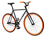 Critical Cycles Fixed Gear Single Speed Fixie Urban Road Bike (Gray/Orange, Large)