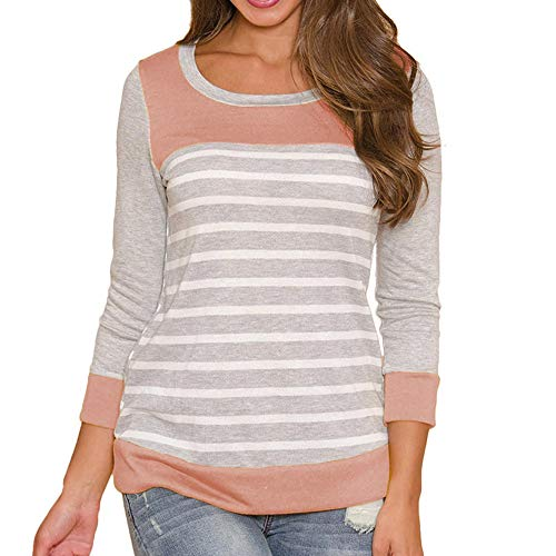 Treats Cardinal Training (POHOK Clearance!Womens Round Neck Blouses Long Sleeve Blouse Tops Stripe Splicing T-Shirt Tops)