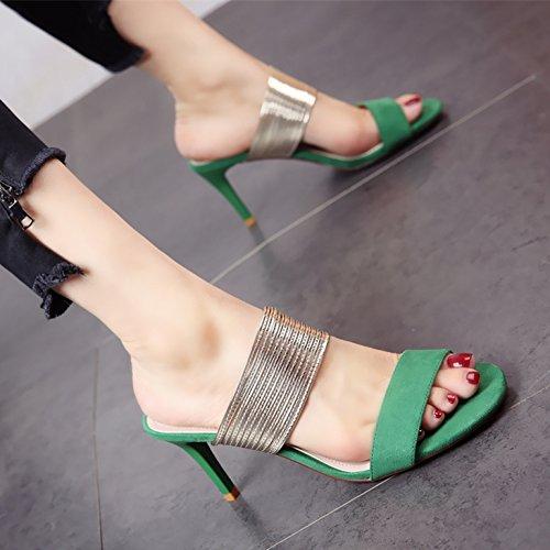 YMFIE Señoras Zapatillas de tacón Alto Estilo Europeo Fideos de satén de Moda de Verano High Heels Trenza metálica Toe Toe Sandalias. green