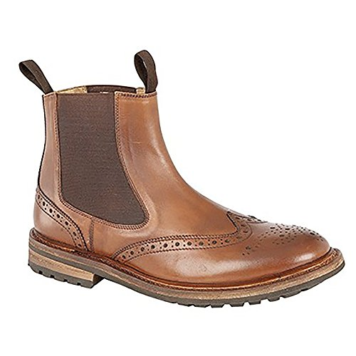 Woodland Mens Brogue Design Gusset Dealer Boots (12 US) (Light Brown)