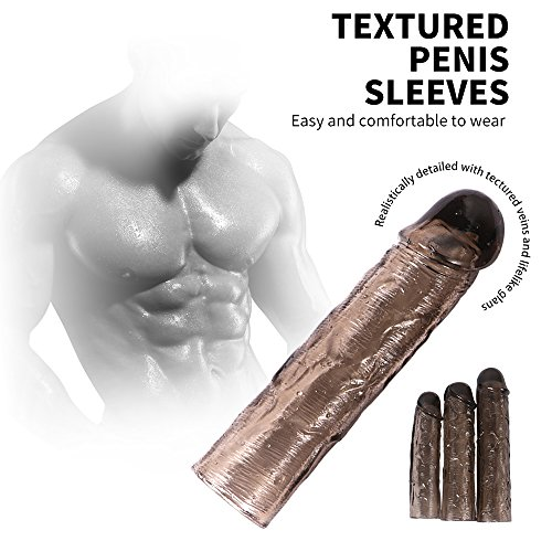 Dimlan 3PCS Reusable Penis Sleeve Extender Clear Silicone Extension Sex Toy Cock Enlarger Condom Sheath Delay Ejaculation Toys for Men (3pcs Small, Medium and Large Included).73-2