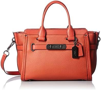 COACH Women's Pebbled Leather Coach Swagger 27 DK/Deep Coral Handbag