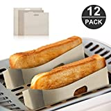 12pcs Non Stick Toaster Bag by CamelBoy Reusable and Heat Resistant easy to clean, perfect for Sandwiches Pastries Pizza Slices Chicken Nuggets Fish Vegetables Panini & Garlic Toast