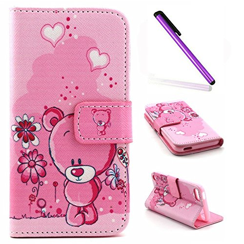 iPod Touch 5 Case iPod Touch 6 Case EMAXELER Wallet Cover [Kickstand Flip Case][Credit Cards Slot][Cash Pockets] PU Leather Flip Folio Wallet Case with Stand For iPod Touch 5/6 - Pink Teddy Bear