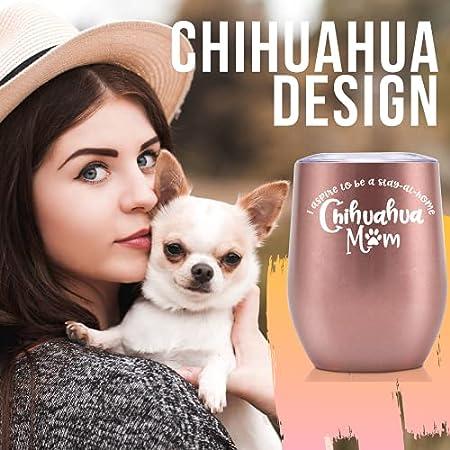 Onebttl Chihuahua Gifts - Vaso de vino de acero inoxidable con tapa para los amantes de los perros Chihuahua (350 ml)