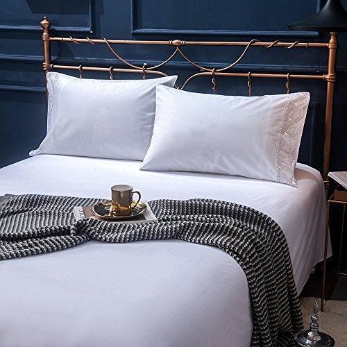 Lausonhouse Sheet Set,100% Cotton Sateen Embroideried Lace Sheet and Pillowcase Set,Deep Pocket,4 Pieces Bed Set - White- Queen