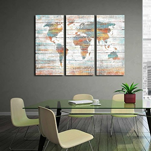 Jojospring 'Colorful World Map' Prints with Hand-Painted Texture Gallery-Wrapped Canvas Art (Set of 3)