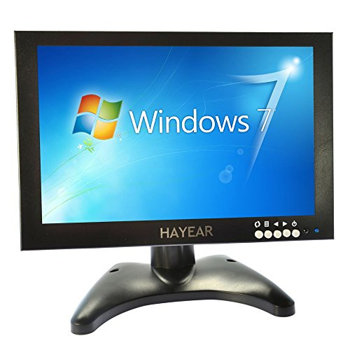 10.1 Inch IPS Screen Color Ultra Thin HD 1280x800 Video Monitor Display BNC/AV/HDMI/VGA/USB Video Input Earphone Output CCTV Camera Monitor Digital Screen Built-in Speaker by hayear