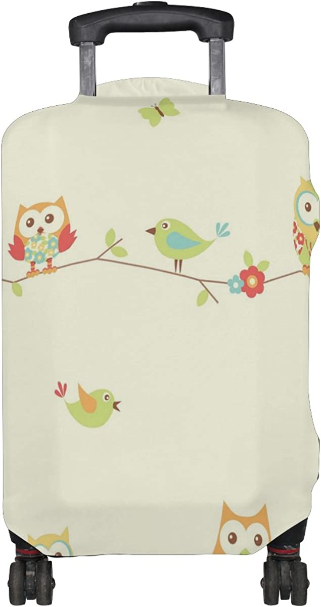 LAVOVO Cute Cartoon Floral Owls Luggage Cover Suitcase Protector Carry On Covers