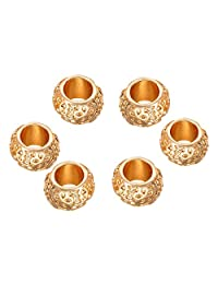 HOUSWEETY 10PCs Flower Carved Spacer Beads Fit European Charm Bracelets Golden