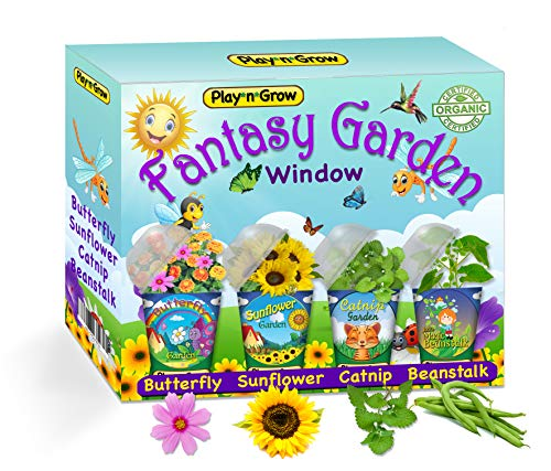 Children's Organic 4 Plant Kit - Fantasy Window Garden from PlaynGrow - Four Complete Pre-Seeded Indoor Grow Sets - Seeds, Soil, Planter, Greenhouse Dome, Water Tray & Cup, Growing Guide, Diary. by Play*n*Grow