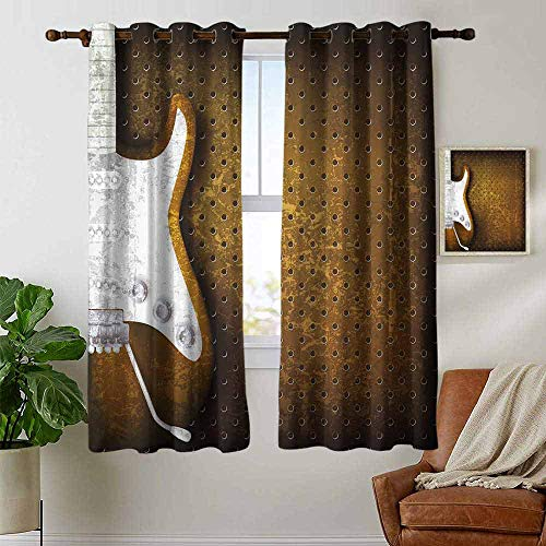 petpany Bedroom Curtains Rock Music,Abstract Dotted Background Electric Guitar Musical Instrument Design Rock,White Caramel,Thermal Insulated Room Darkening Window Shade 52