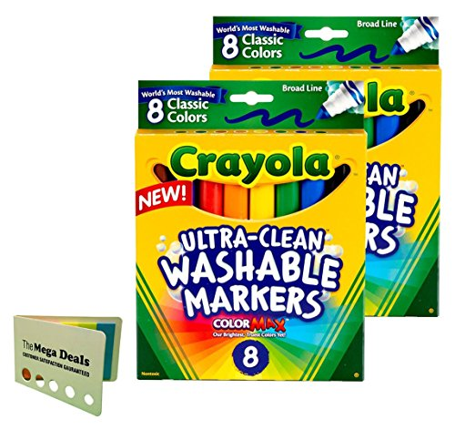 Crayola Broad Point Washable Markers - Pack of 2 (58-7808-2Pack), Includes 5 Color Flag Set]()