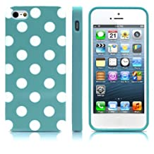 iPhone 5S Case, MagicMobile® Ultra Slim Thin Durable Fashion Cute Glossy Cover for iPhone 5 TPU Polka Dot Pattern iPhone 5S Case [Dual Color: Turquoise - White]