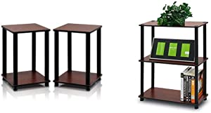 Furinno Turn-N-Tube End Table Corner Shelves, Set of 2, Dark Cherry/Black & Turn-N-Tube Display Rack, 3-Tier Single, Dark Cherry/Black