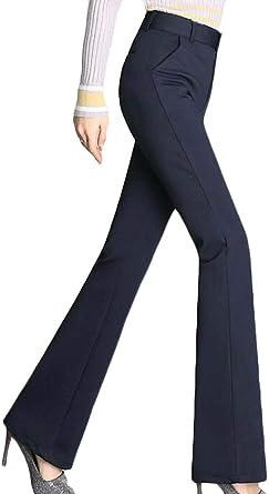 Bingsai Pantalones De Oficina Para Mujer Pantalones De Trabajo De Talle Alto Elastico Azul Azul Marino Us Large Amazon Es Ropa