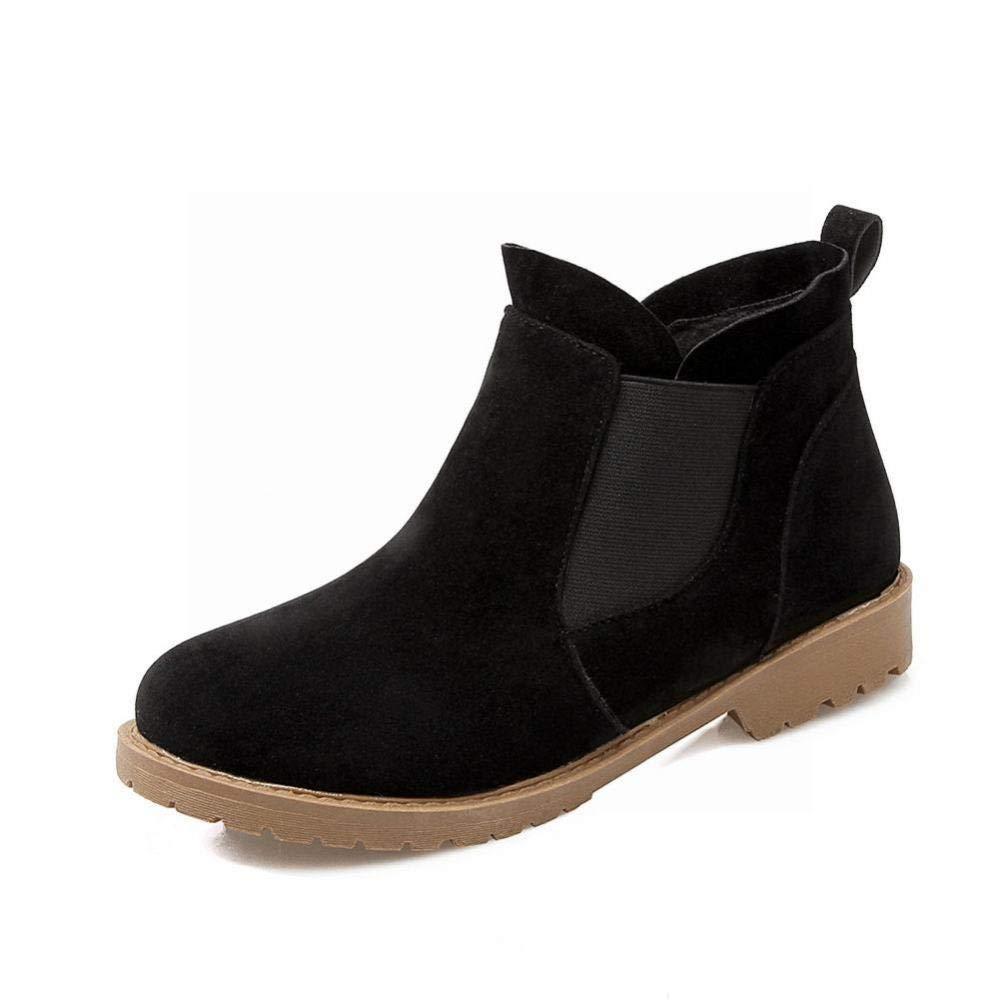 Damenschuhe Damenschuhe Damenschuhe - Niedriger Absatz Martin Stiefel wies Stiefel Herbst und Winter warme Baumwollschuhe   36-43 (Farbe   Schwarz, Größe   39)  7a6583