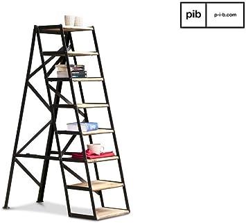pib Escalera Estudio Estilo Vintage de 8 escalones - Madera Maciza, Acabado Barnizado, Acabado patinado | Hermosa Escalera con Todo el Estilo Industrial Vintage. - Beige (L34 x H128 x P88 cm):