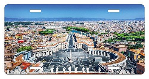 Ambesonne European License Plate, Saint Peter's Square in Rome Italian Mediterranean Europe Citscape Urban Print, High Gloss Aluminum Novelty Plate, 5.88