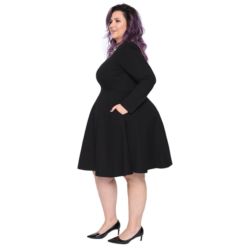 Astra Signature Women's Plus Size Plain Long Sleeve Loose Swing Casual Midi Dress (Black, 18W) by Astra Signature (Image #2)