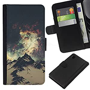 iBinBang / Flip Funda de Cuero Case Cover - Mountain Hiking Andes Alaska Space - Sony Xperia Z1 L39H