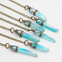 Raw aqua crystal aura quartz point antique bronze chain pendant necklace