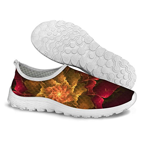 FOR U DESIGNS Stylish Casual Floral Pattern Mesh Comfortable Womens Walking Running Shoes Brown a VSbeX