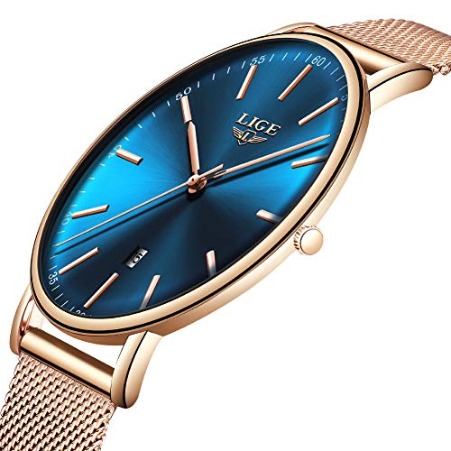 Mens Womens Watch Fashion Casual Small Fresh Watches Top Brand LIGE Simple Waterproof Quartz Luminous Watch Classic Mesh Belt Calendar Motion Clock