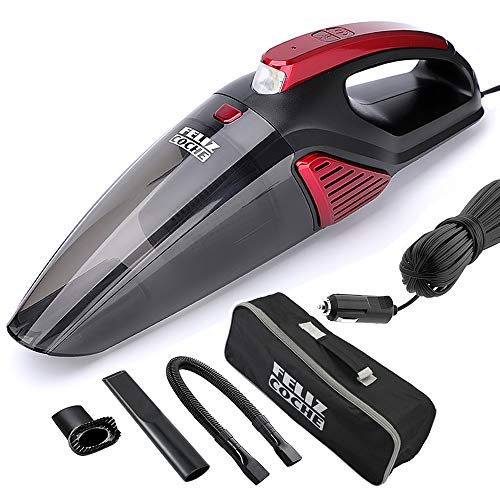 Car Vacuum Cleaner,High Power Portable Vacuum Cleaner for Car 12v Wet/Dry Strong Suction 5000PA with Stainless Steel Filter/LED Light/16.4Ft Power Cord (Black+Red)