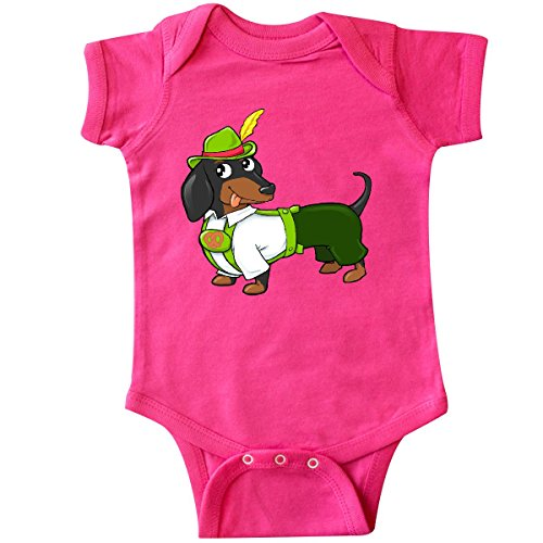 Inktastic - Cute black and brown dachshund in Infant Creeper Newborn Hot Pink (Dachshunds In Costumes)
