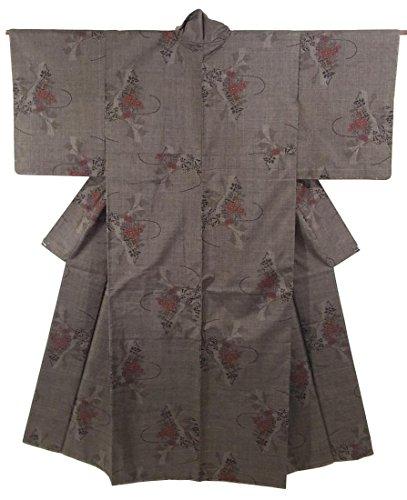 リサイクル 着物 大島紬 一元式5マルキ 正絹 袷 花車文 裄63cm 身丈159cm