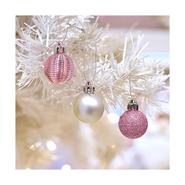 Victor's Workshop 49 Pezzi 3cm Palline di Natale, Ornamenti di Palle di Natale Infrangibili Rosa e Viola per la Decorazione Dell'Albero di Natale 4 spesavip